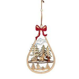 "3D wood ornament 10"" christmas winter woodland"